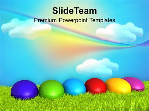 template powerpoint easter christ easter eggs with rainbow theme powerpoint templates
