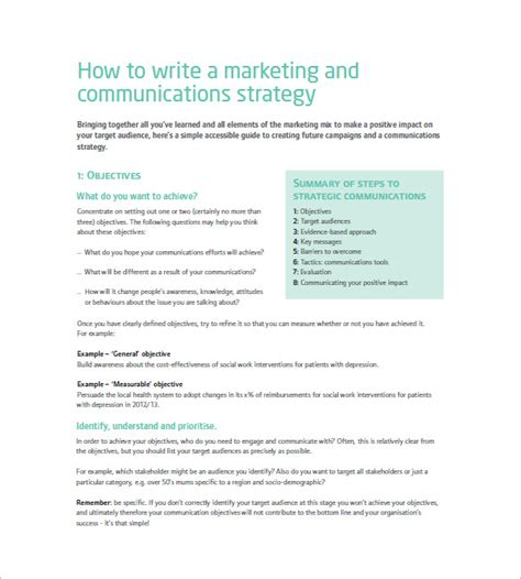 marketing communication plan template 10 free word