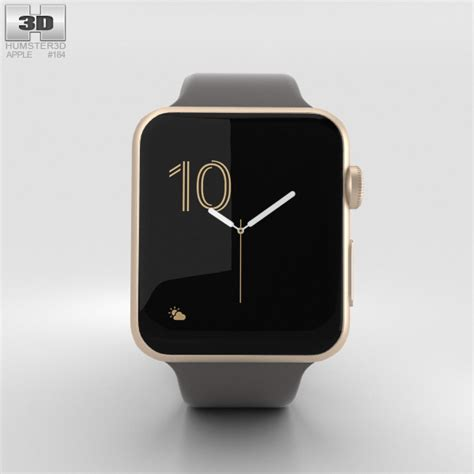 Ori Apple Serie 2 Aluminum Gold Cocoa Sport Band 42mm apple series 2 42mm gold aluminum cocoa sport band 3d model hum3d
