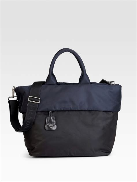 Prada Fancy Tote 022 Prada Tessuto Tote In Black Black Blue Lyst