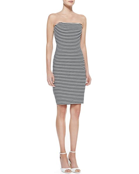 Dress Black White Stripes lyst miller artelier strapless striped sheath
