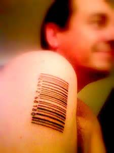 barcode tattoo shoulder man with new barcode tattoo on right shoulder