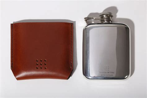 Handmade Hip Flask - rounded pewter hip flask with handmade black leather