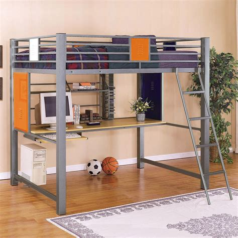 Loft Beds Computer Desk Gray Metal Size Loft Bed With Computer Desk And Ladder For Boys Decofurnish