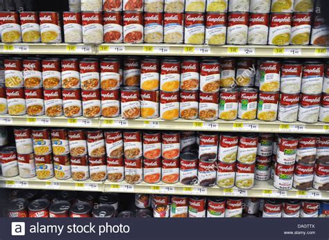 Shelf Of Soup by Store Shelves Of Cans Of Cambell S Soup On Sale Stock Photo Royalty Free Image 58148410
