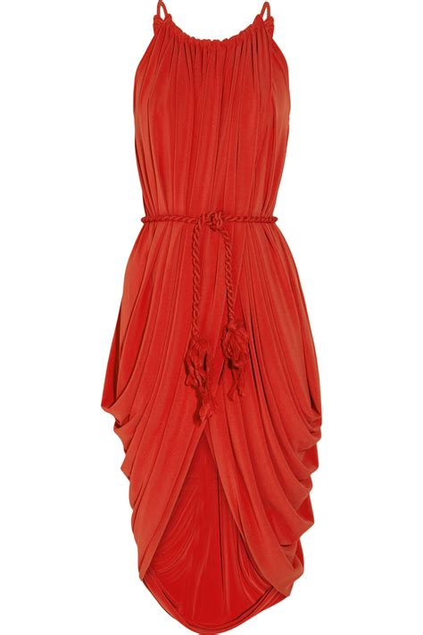 lanvin draped dress lanvin draped belted crepe jersey dress in red lyst