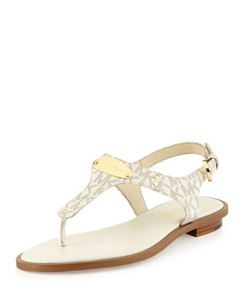 michael kors logo sandals lyst michael michael kors logo plate leather
