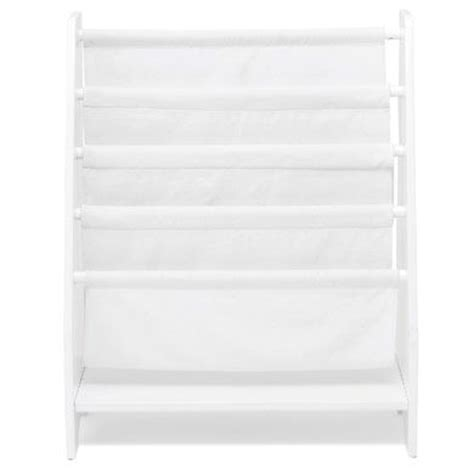 sling bookcase with plain white canvas bookcases