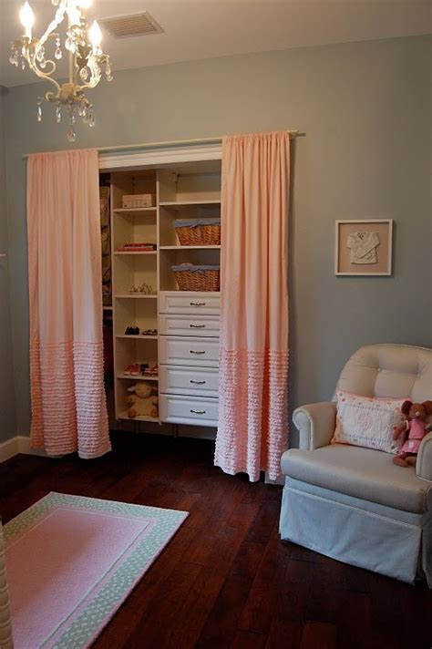Closet Curtain Ideas by Removing Closet Doors In The Nursery The Closet Curtain