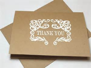 rustic wedding handmade thank you note card set embossed thank you cards kraft thank you cards