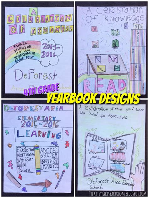 yearbook layout grading rubric the artsy fartsy art room 4th grade yearbook covers 2015