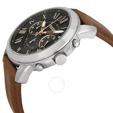 Fossil For fossil grant chronograph black brown leather s