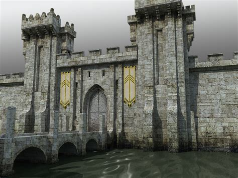 gate house medieval castle gatehouse towers dxf