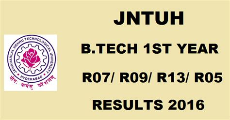 Jntuh Mba 2016 Results Date by Jntuh B Tech 1st Year Results 2016 For R07 R09 R05 R13