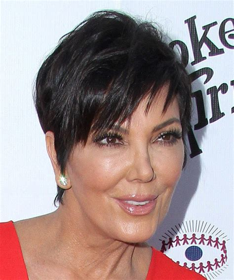 back of chris jenner s hair kris jenner short straight casual hairstyle dark brunette