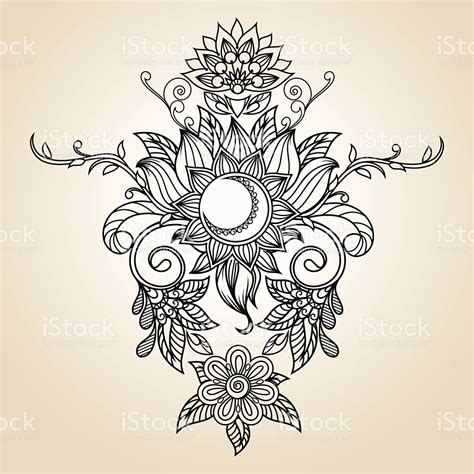 Orchid Wall Stickers vintage ethnic pattern henna tattoo sun lotus flower and