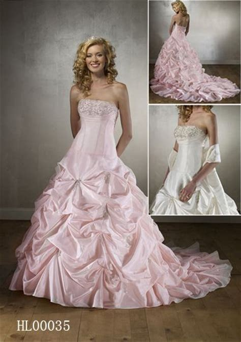 Ruched Draped Skirt Pink Ball Gown Wedding Dress