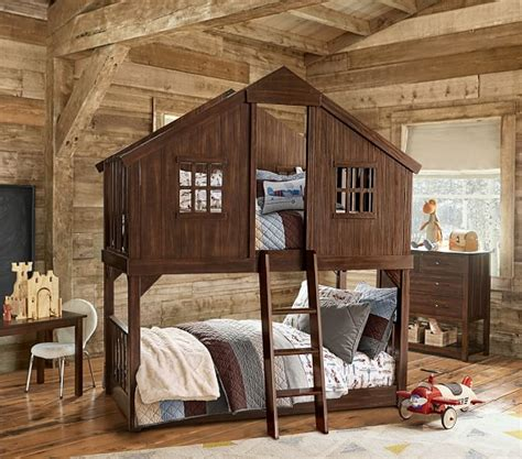 house bunk bed tree house twin over twin bunk bed pottery barn kids