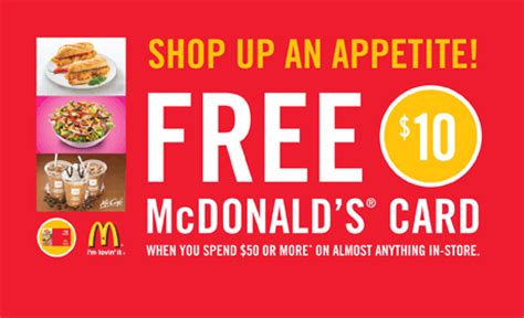 Mcdonalds Gift Cards Discount - shoppers drug mart free 10 mcdonalds card when you spend 50 or more nb pei nl