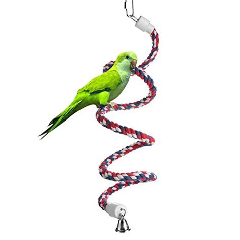 the bird perched on the swing aigou bird spiral rope perch cotton parrot swing climbing