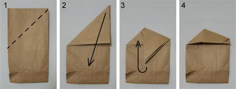 Origami Paper Bag - brown paper bag fold