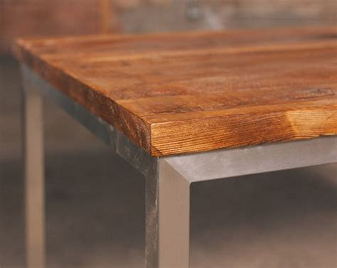 Stainless Steel And Wood Dining Table Reclaimed Wood Table With Stainless Steel Base Rustic Dining Tables Chicago By