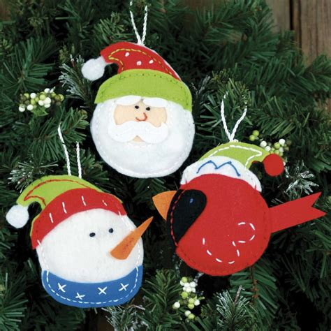 holiday trio felt christmas ornaments kit craft kits at