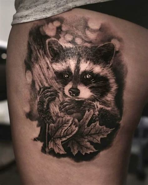 racoon tattoo angelique grimm raccoon the crew