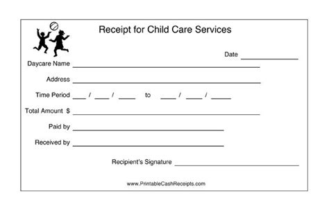 Daycares Can Keep Track Of Payment Periods With This Printable Child Care Receipt Free To Child Care Receipt Template Free