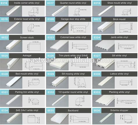 baseboards sizes pvc window and door roofing trim upvc profiles for house