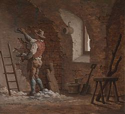 Early 19th century plasterer at work painting by john cranch 1751