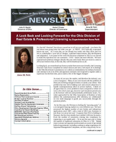 realtor newsletter templates 5 sle real estate newsletters sle templates