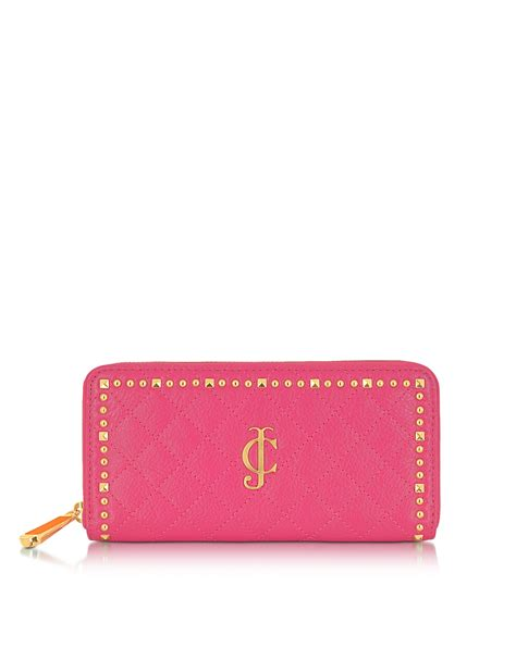 Pink Wallet lyst couture studded leather zip wallet in pink