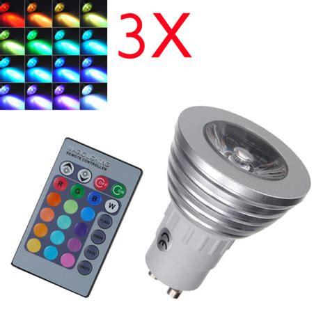 Buy 3x Gu10 Rgb Led Bulb 3w Remote Control 16 Color Remote Led Bulb Light 16 Color Changing