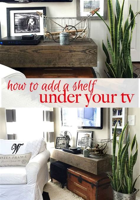 how to add a shelf to a how to add floating shelf under your tv refresh restyle