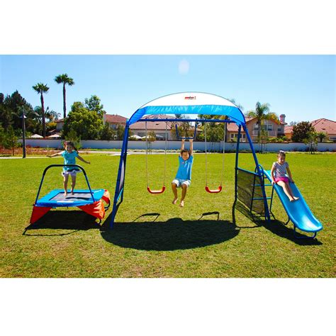 kmart swing sets on sale iron premier 100 metal swing set with troline and