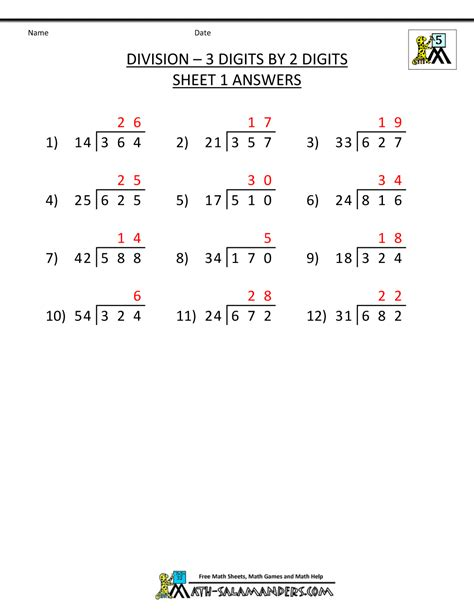6 Grade Math Worksheets With Answer Key by Division Worksheets For 5th Grade