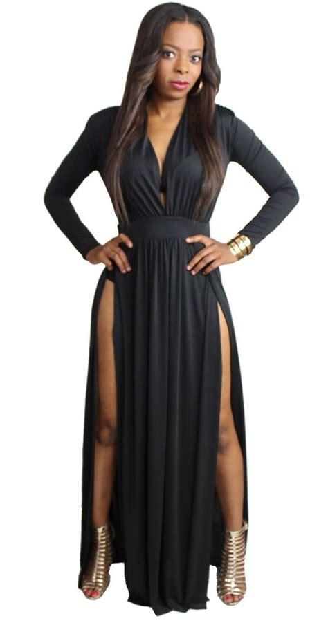 Longdress Kasandra sleeve cleavage plunge maxi dress with two