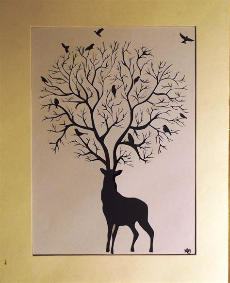 How To Make A Deer Out Of Paper Mache - deer silhouette paper cut out 27x35cm by annvasart on