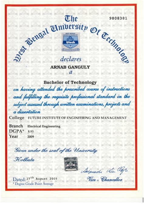 Technical Mba Degree by B Tech Degree Certificate