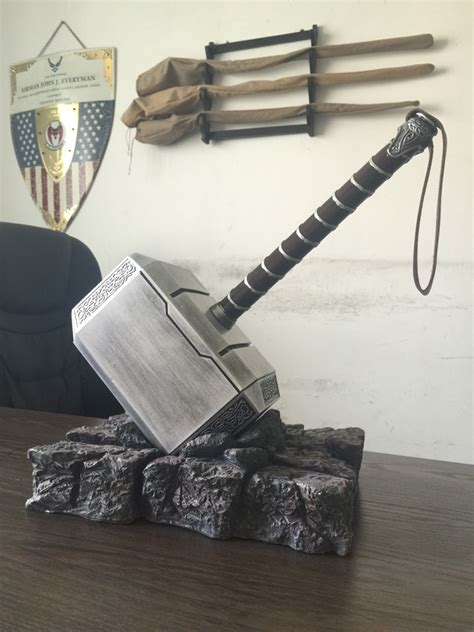 Handmade Props - 1 1 replica thor hammer with stand base handmade