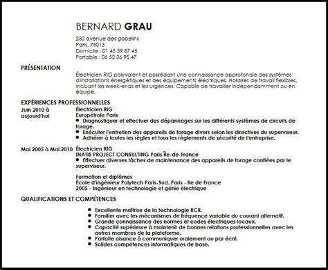 Resume Samples Livecareer by Cv 201 Lectricien Rig Exemple Cv 201 Lectricien Rig Livecareer