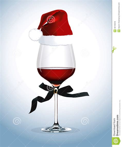 Vector Of Red Wine Glass Christmas Party Stock Photo