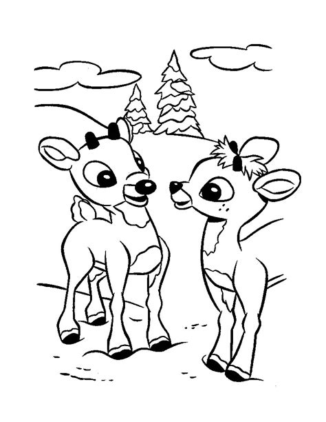 Printable Reindeer Coloring Pages Coloring Me Rudolph Color Page