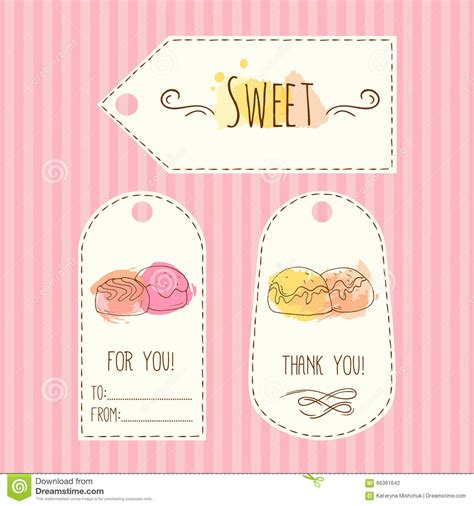 sweet labels template tags with illustration vector labels set with watercolor splashes sweet