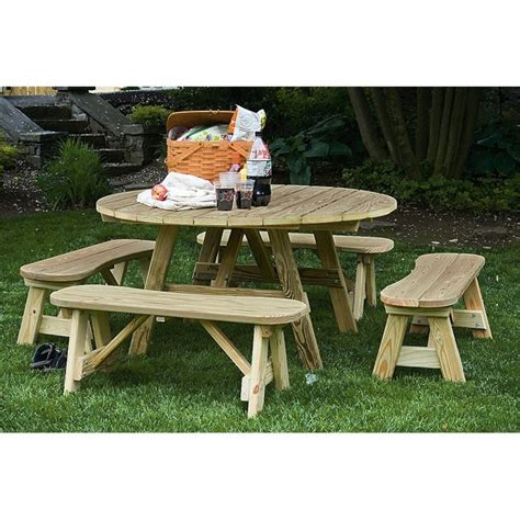 pine picnic bench round table with 4 benches