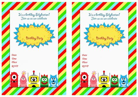 yo gabba gabba yo gabba gabba birthday invitations birthday printable