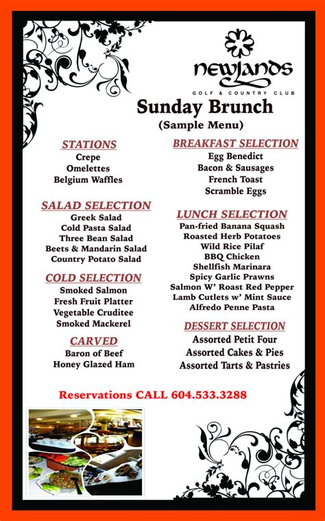 Sle Menu Sunday Brunch Menu For Brunch Buffet