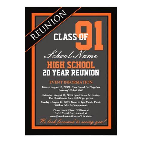 classy formal high school reunion 5x7 paper invitation