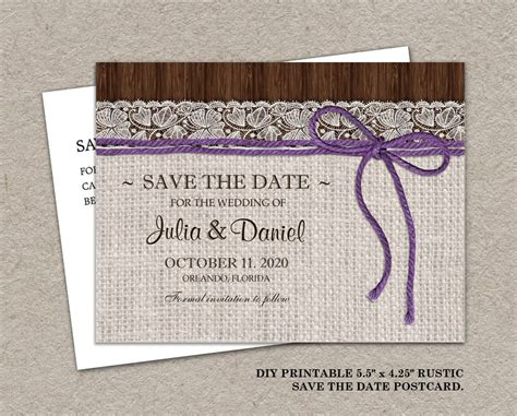 Diy Save The Date Cards Templates Free by Diy Printable Rustic Wedding Save The Date Postcard With